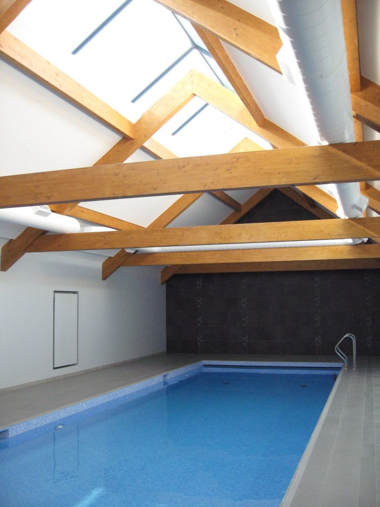 High level ducting in an indoor pool in Margaretting, Essex