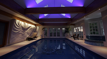 Fabulous lighting and wall art bring together the interior designers talent and the pool designers engineering